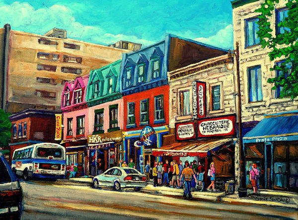 Wall Art - Painting - Old Montreal Schwartzs Deli Plateau Montreal City Scenes by Carole Spandau