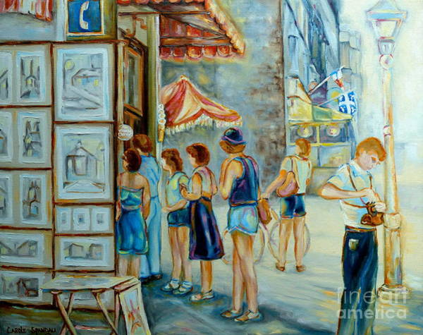 Quebec Flag Painting - Old Montreal Street Scene by Carole Spandau