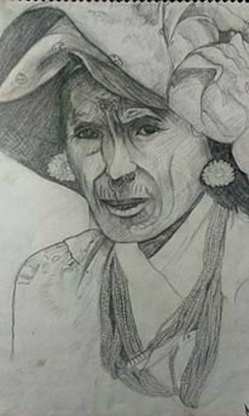 Ganesh Drawing - Old Mountainer Women by Ganesh Timilsina