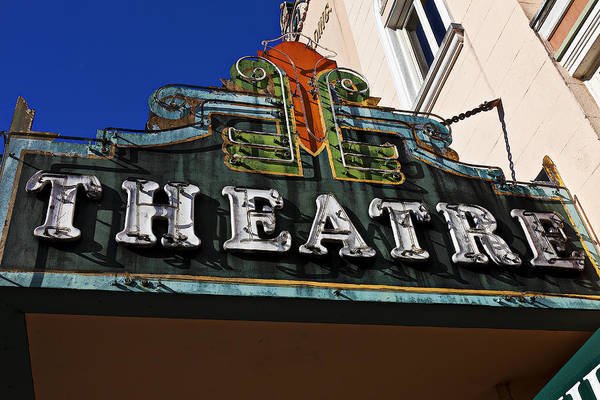 Neon Signage Photograph - Old Movie Theatre Sign by Garry Gay