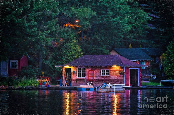 Photograph - Old Muskoka Boathouse At Night by Les Palenik