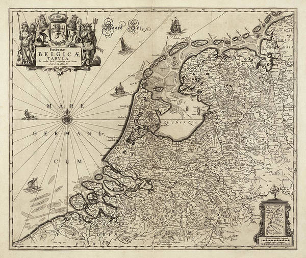 Wall Art - Drawing - Old Netherlands Map By Hugo Allardt - 1665 by Blue Monocle