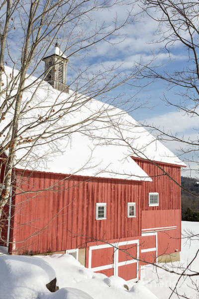 Photograph - Old New England Red Barn In Winter by Edward Fielding