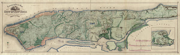 Map Of Old New York.Old New York City Map By Egbert L Viele 1865 Drawing By Blue Monocle