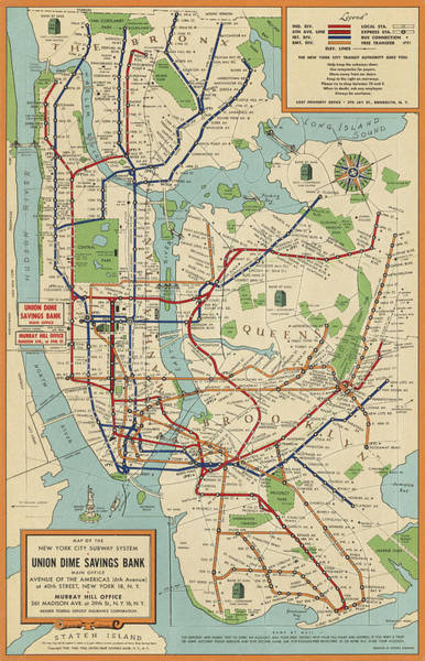 New York City Map Drawing - Old New York City Subway Map By Stephen Voorhies - 1954 by Blue Monocle