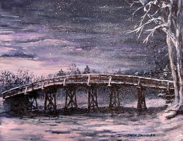 Wall Art - Painting - Old North Bridge In Winter by Jack Skinner