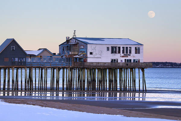 Wall Art - Photograph - Old Orchard Beach Moonrise by Eric Gendron