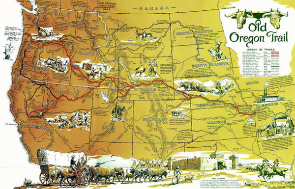 Wall Art - Photograph - Old Oregon Trail And Other Trails West  1948 by Daniel Hagerman