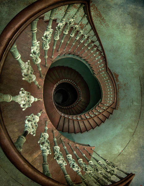 Photograph - Old Ornamented Spiral Staircase by Jaroslaw Blaminsky