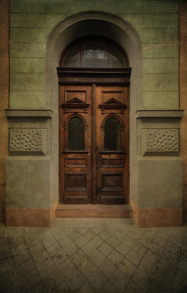 Wall Art - Photograph - Old Ornamented Wooden Gate In Brown Tones by Jaroslaw Blaminsky