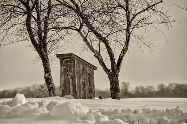 Wall Art - Photograph - Old Outhouse In The Snow In Sepia by Bill Cannon
