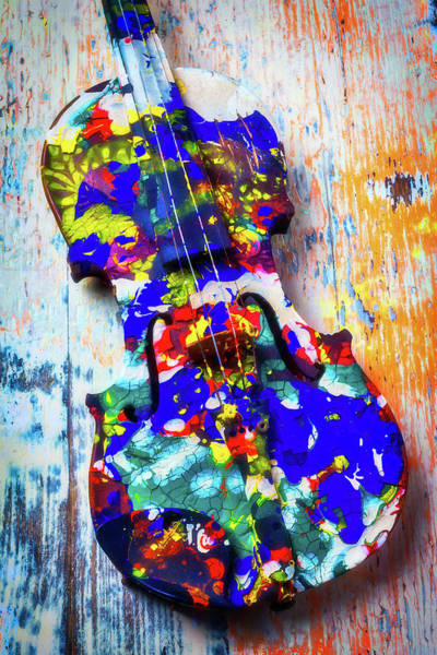 Frets Photograph - Old Painted Violin by Garry Gay