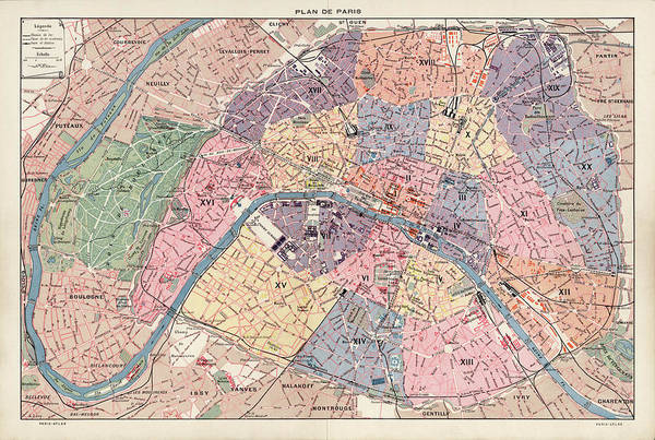 Wall Art - Drawing - Old Paris Map By Fernand Bournon - 1900 by Blue Monocle