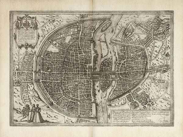 Wall Art - Drawing - Old Paris Map By Georg Braun And Franz Hogenberg - 1575 by Blue Monocle