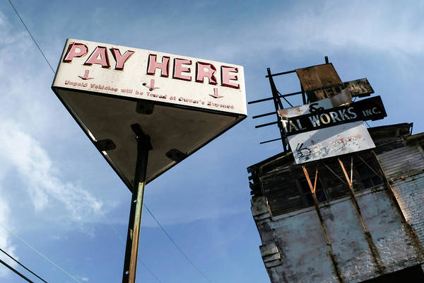 Old Pay Here Parking Sign Vintage Decay Art Print