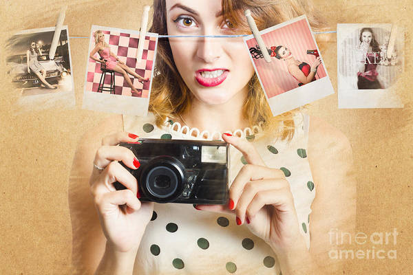 Old Photo Collection Pin-up Art Print