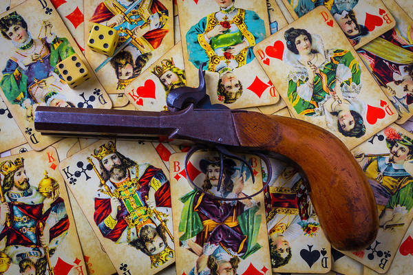 Wall Art - Photograph - Old Pistol And Cards by Garry Gay