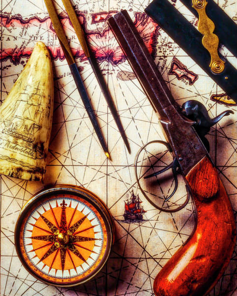 Wall Art - Photograph - Old Pistol With Compass On Map by Garry Gay
