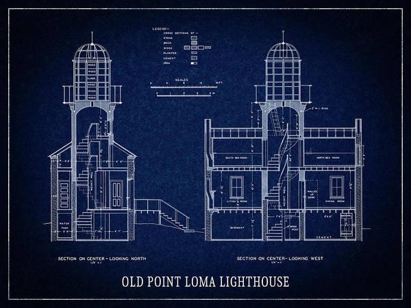 Wall Art - Digital Art - Old Point Loma Lighthouse Blueprint - San Diego by Daniel Hagerman