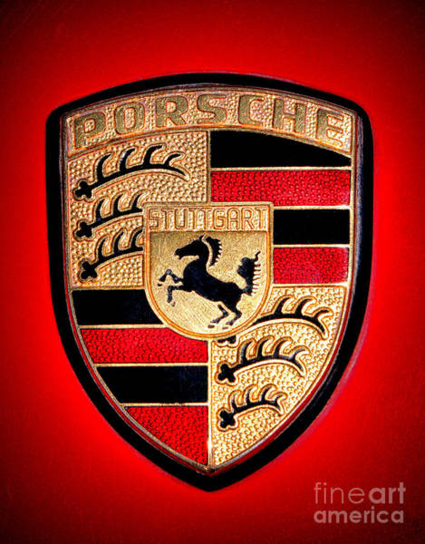 Wall Art - Photograph - Old Porsche Badge by Olivier Le Queinec