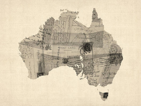 Wall Art - Digital Art - Old Postcard Map Of Australia Map by Michael Tompsett