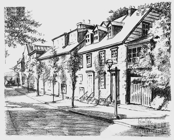 Quebec City Drawing - Old Quebec Street by Louise Lavallee