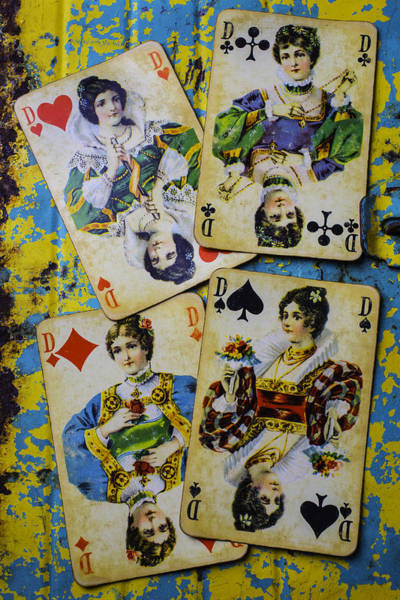 Wall Art - Photograph - Old Queens Playing Cards by Garry Gay