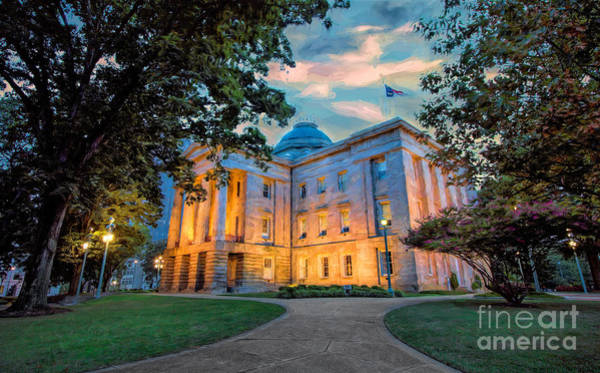Downtown Raleigh Wall Art - Painting - Old Raleigh Capital At Sunset II by Dan Carmichael