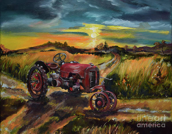 Old Red At Sunset - Tractor Art Print