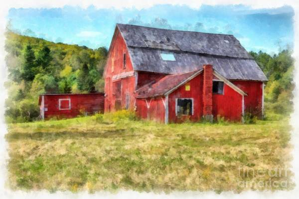 Remote Digital Art - Old Red Barn Abandoned Farm Vermont by Edward Fielding
