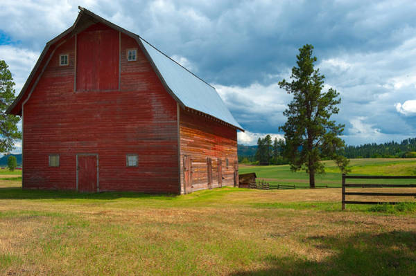Stormcloud Photograph - Old Red Big Sky Barn  by Sandra Bronstein