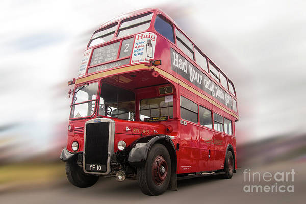 Vintage Conway Photograph - Old Red London Bus by Tom Conway