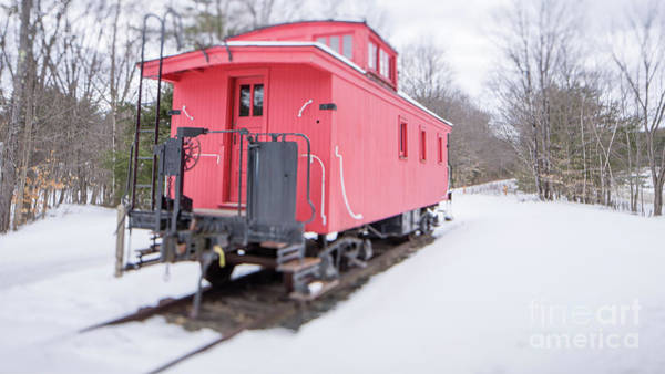 Wall Art - Photograph - Old Red Caboose In Winter Tilt Shift by Edward Fielding