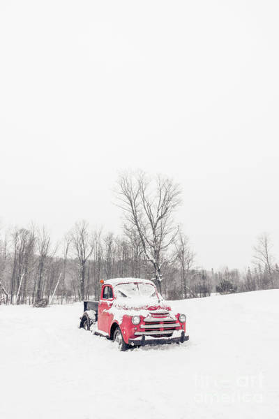 Photograph - Old Red Farm Truck In The Snow by Edward Fielding