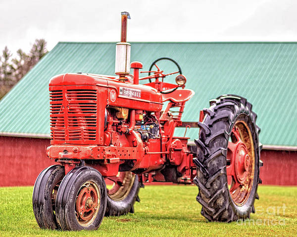 Photograph - Old Red Farmall Vintage Tractor Stowe Vermont by Edward Fielding
