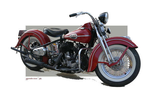 Old Red Harley Davidson Art Print