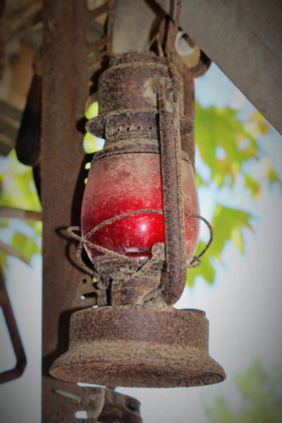 Glass Insulator Photograph - Old Red Lamp by Marnie Patchett