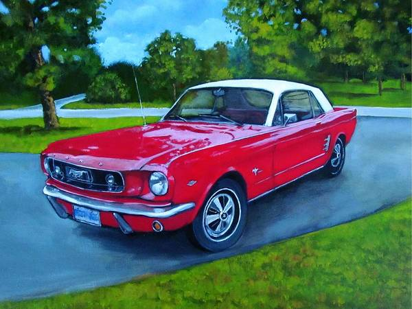 Wall Art - Painting - Old Red Mustang Car by Joyce Geleynse