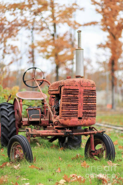 Photograph - Old Red Tractor Quechee Vermont Fall by Edward Fielding