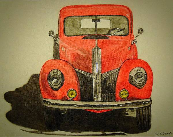 Old Red Truck Drawing - Old Red Truck by Ed Estrada