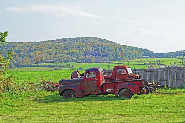 Photograph - Old Red Trucks Vermont New England by Toby McGuire