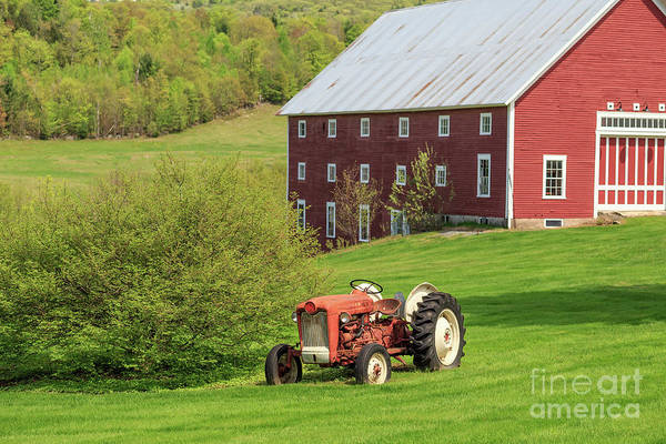 Photograph - Old Red Vintage Ford Tractor On A Farm In Enfield Nh by Edward Fielding