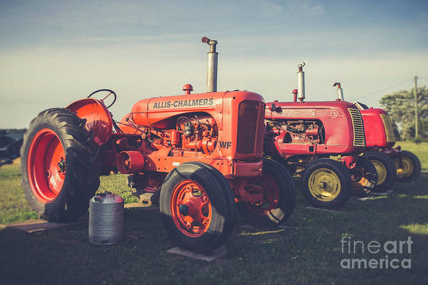 Wall Art - Photograph - Old Red Vintage Tractors Prince Edward Island  by Edward Fielding