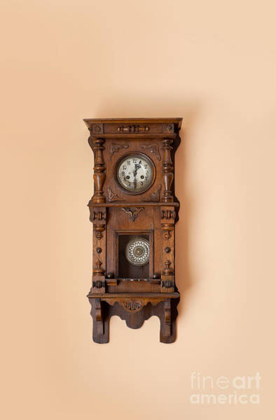 Wall Art - Photograph - Old Retro Wooden Clock Hanging by Arletta Cwalina
