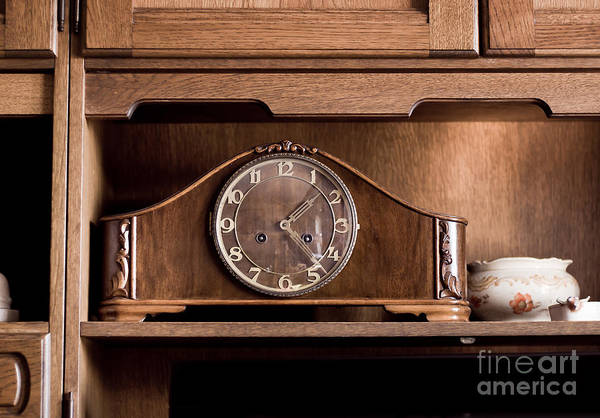 Wall Art - Photograph - Old Retro Wooden Clock On Shelf by Arletta Cwalina