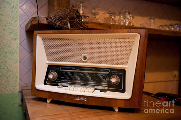 Wall Art - Photograph - Old Retro Wooden Radio Device On Shelf by Arletta Cwalina