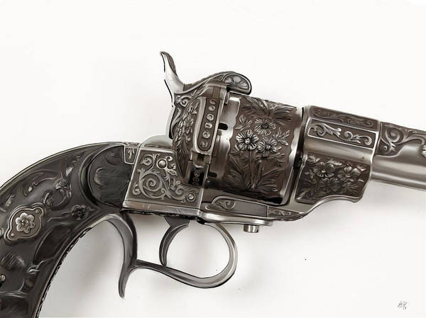 Rust Drawing - Old Revolver by Kendall Tabor