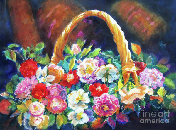 Wall Art - Painting - Old Roses And Baskets 2    by Kathy Braud