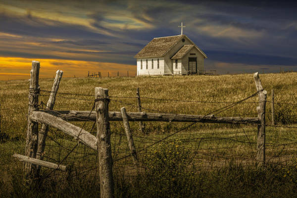 Photograph - Old Rural Country Church At Sunset by Randall Nyhof