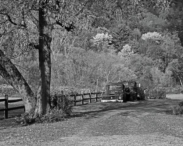 Photograph - Old Rusted Trucks Bethel Vermont Vt New England Foliage Aurumn Black And White by Toby McGuire